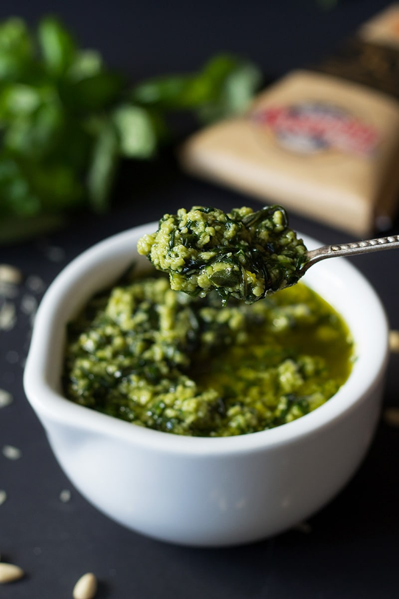 Authentic Italian pesto. Perfect combination of basil, pine nuts, garlic and olive oil | cookingtheglobe.com