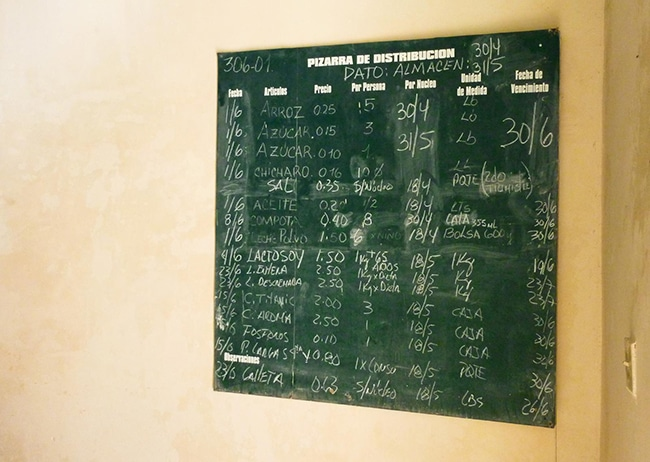 Chalkboard in the shop announcing the quantity of the products per person per month. Photo by Carlos Reusser Monsalvez