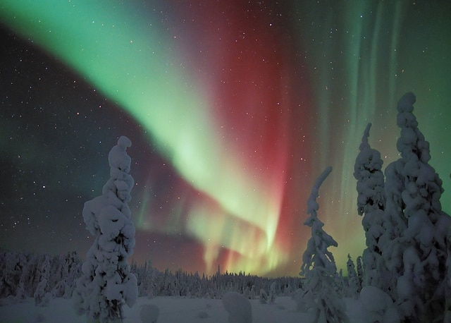 Beautiful Northern Lights in Lapland, Finland.