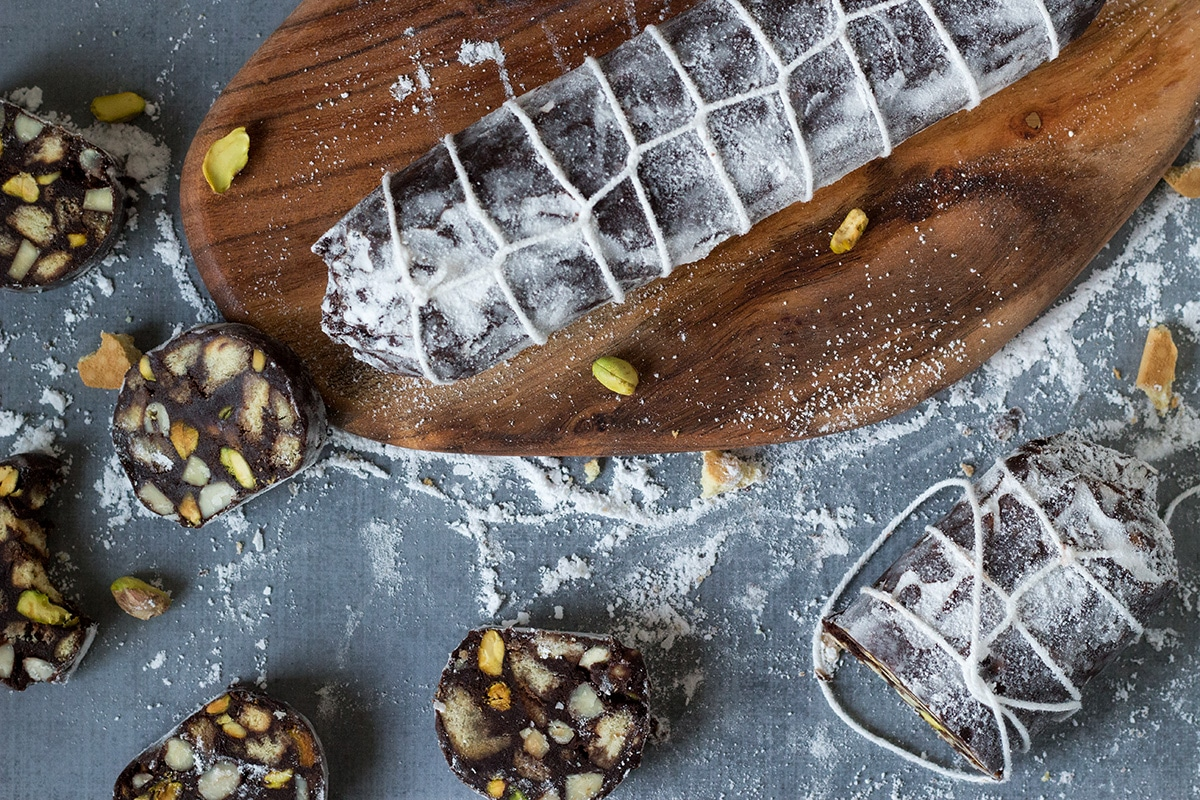 This chocolate dessert called Chocolate Salami comes straight from Italy and is filled with the flavors of chocolate, pistachios, almonds and rum! | cookingtheglobe.com