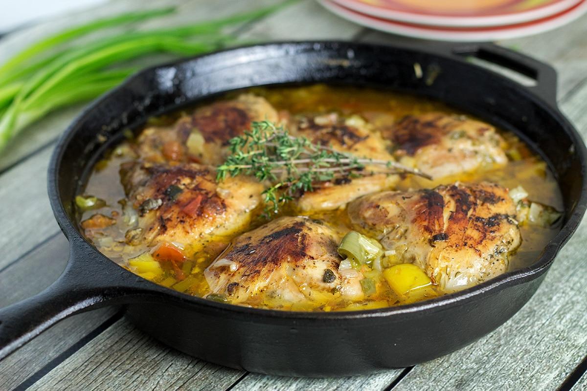 Jamaican Brown Stew Chicken - Cooking The Globe