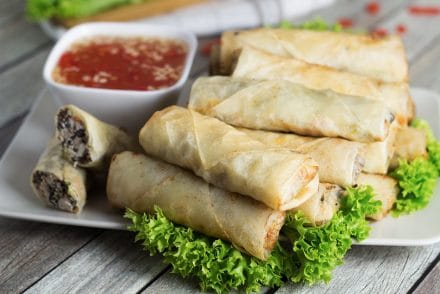 These Vietnamese egg rolls, called Cha Gio, together with the Nuoc Cham dipping sauce make a perfect party appetizer!   cookingtheglobe.com