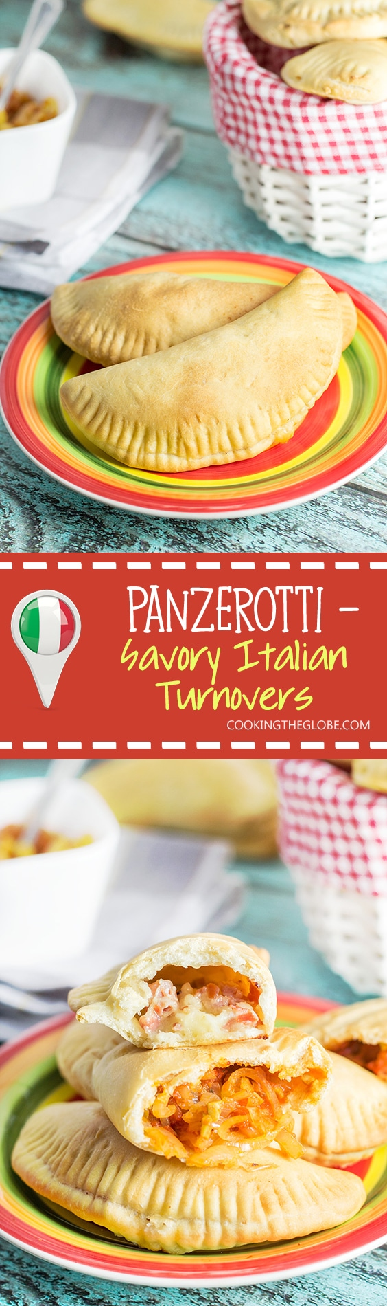 Panzerotti - savory Italian turnovers with mozzarella & prosciutto and onions & olives fillings!