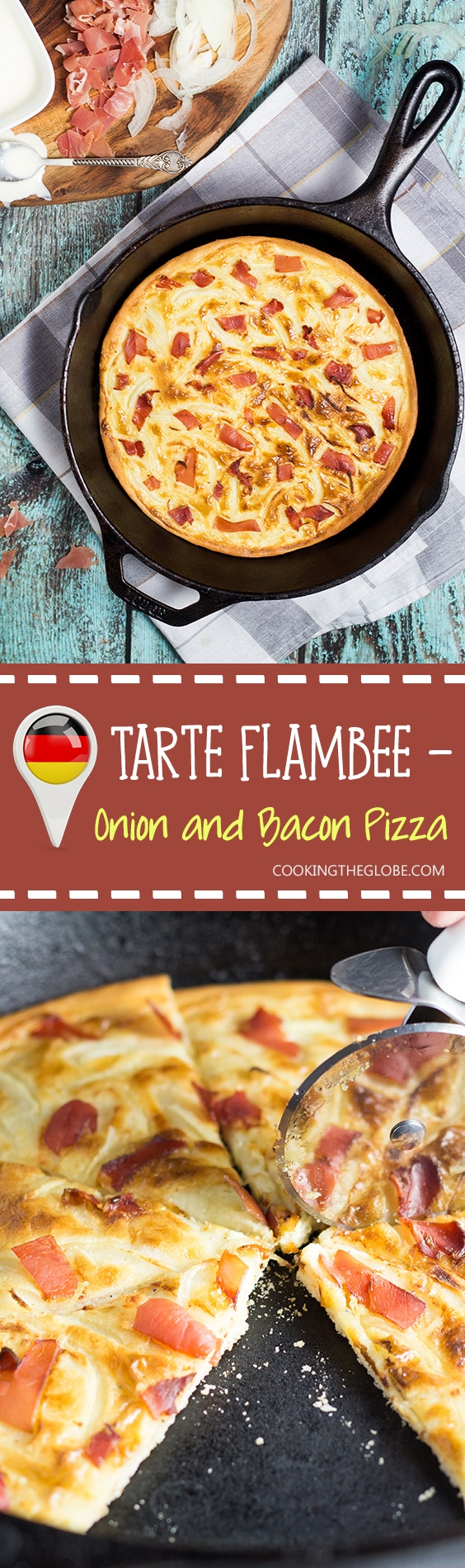 Tarte Flambee or Flammkuchen is a savory Alsatian pizza, topped with delicious sauce, onion and bacon!