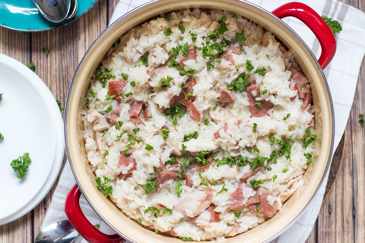 Chicken Bog is a traditional Southern dish featuring rice, chicken and sausage. It's hearty, filling and very tasty!