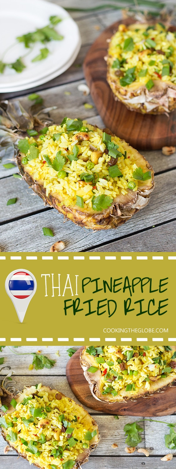 This signature Thai Pineapple Fried Rice is sweet & spicy. It is served in pineapple shells! | cookingtheglobe.com