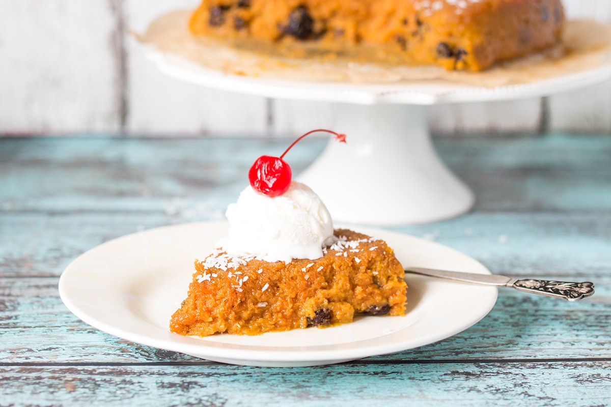 This Jamaican Sweet Potato Pudding or Pone is sweet, with a notes of cinnamon, nutmeg and vanilla! | cookingtheglobe.com