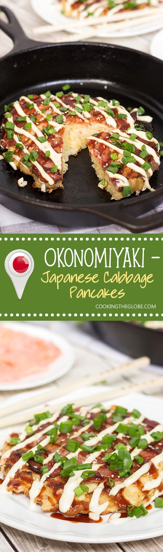 This traditional Japanese pancake (Okonomiyaki) is filled with cabbage and topped with sliced pork and amazing sauce! | cookingtheglobe.com