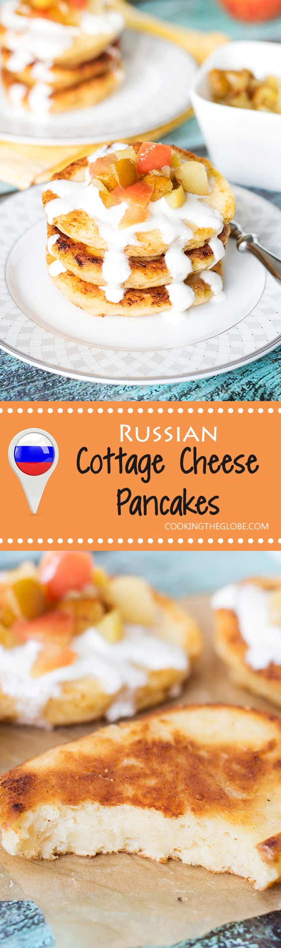 These Cottage Cheese Pancakes come from Russia and are called Syrniki. Served with sour cream and caramelized fruit! | cookingtheglobe.com