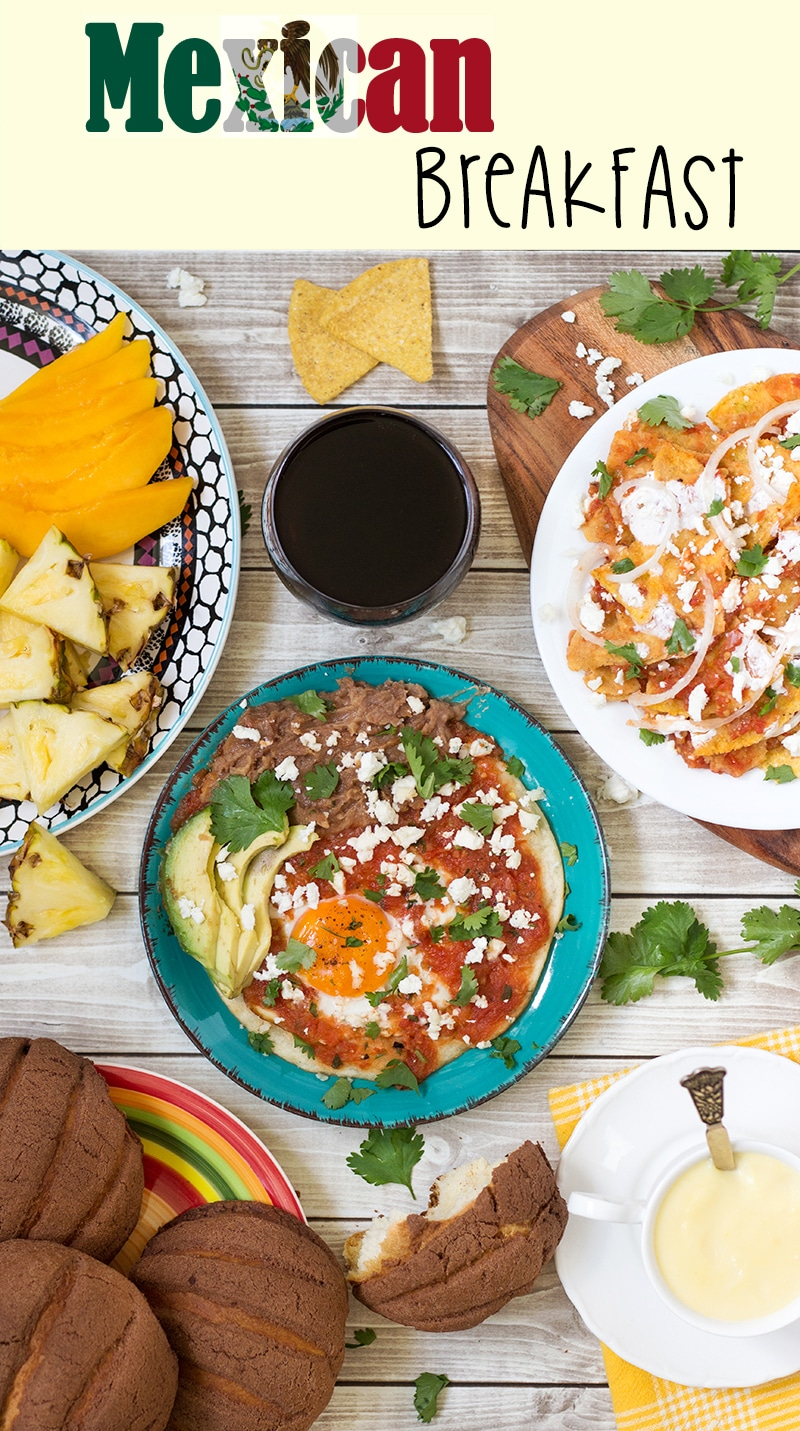 A look at the traditional Mexican breakfast which features spicy fried eggs (Huevos Rancheros), tortilla chips in a sauce (Chilaquiles), sweet bread and the hot corn drink (Atole)!