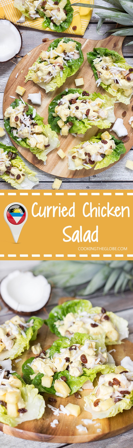 This crazy delicious Curried Chicken Salad comes from the Caribbean, and also features pineapple, coconut, raisins and other goodness! | cookingtheglobe.com