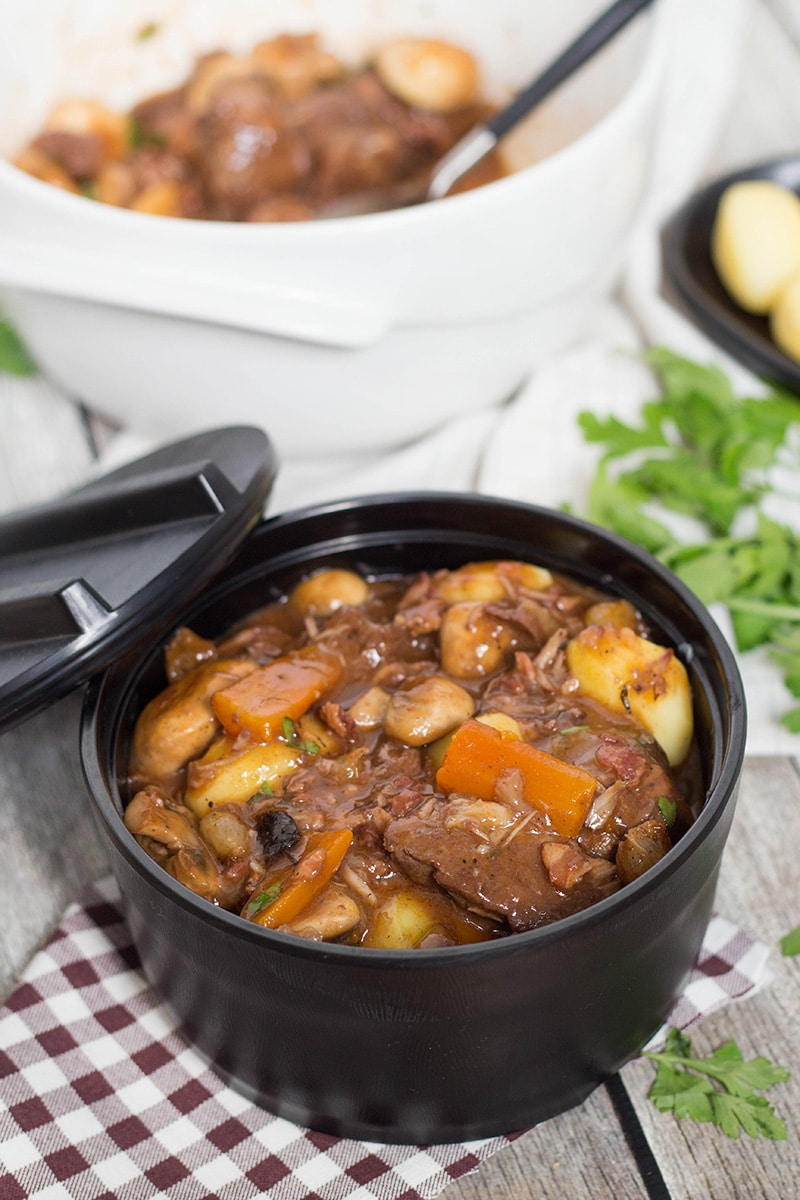 Boeuf Bourguignon is a traditional French beef stew with mushrooms, onions, and other goodies. Try this classic recipe brought by the legendary Julia Child! | cookingtheglobe.com