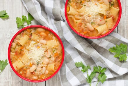 Pasta Fazool, also known by the name Pasta e Fagioli, is a classic Italian pasta and bean soup. It also features Parmesan cheese, tomatoes, and tons of other veggies! | cookingtheglobe.com
