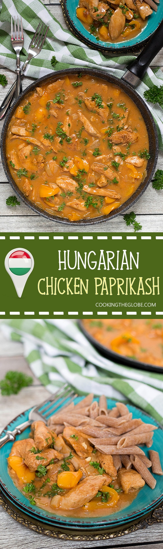 Hungarian Chicken Paprikash is basically a paprika flavored chicken. This dish is really easy to make and makes a fabulous weeknight dinner! | cookingtheglobe.com