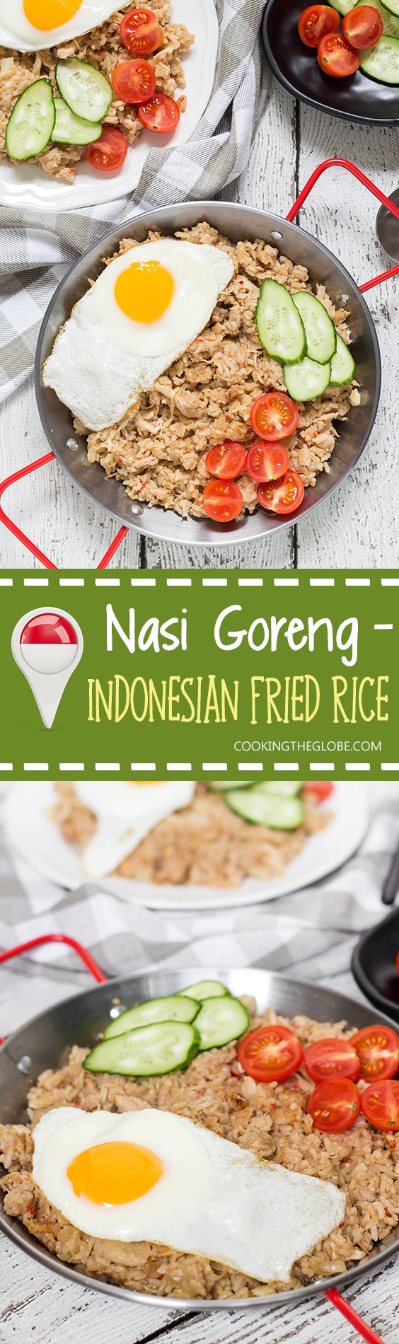 Indonesian Fried Rice (Nasi Goreng) is one of the most popular Indonesian dishes. It features chicken, tons of veggies, and is served with a fried egg on top! | cookingtheglobe.com