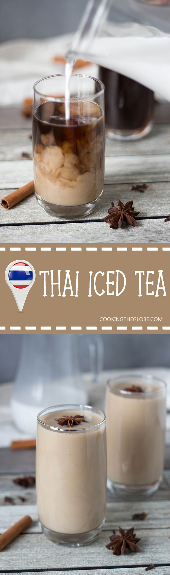 If you are looking for something refreshing and crazy delicious at the same time, this Thai Iced Tea is for you. It's flavored with anise, cinnamon, ginger, cloves, and more!   cookingtheglobe.com