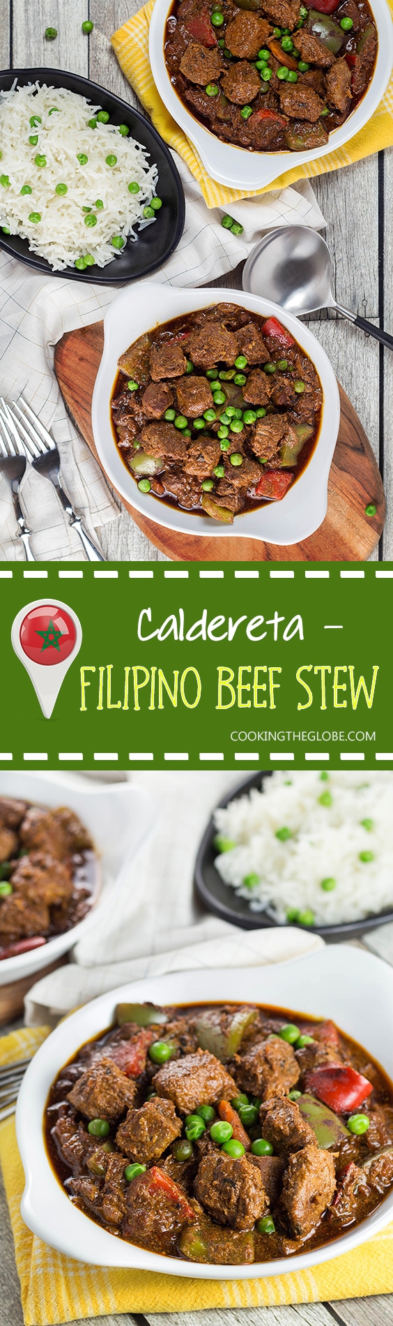 Beef Caldereta is a tomato sauce, red wine, and soy sauce based stew coming from the Philippines. But what sets it apart from other stews is the addition of liver pâté! Intrigued? Check it out! | cookingtheglobe.com