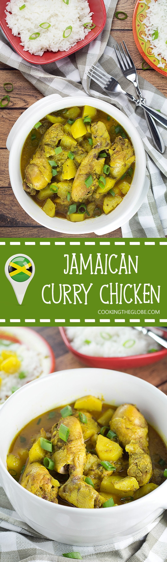 If you love Caribbean cuisine, this Jamaican Curry Chicken will make your taste buds tingle. It's spicy, it's comforting, it's everything you want a dish to be. Yum! | cookingtheglobe.com