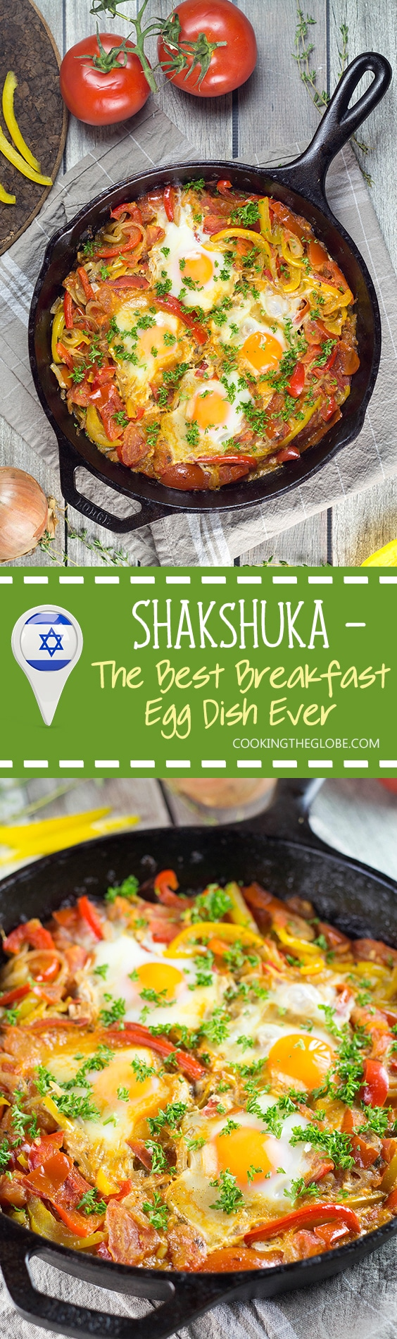 There are plenty of ways of cooking eggs, but nothing beats Shakshuka. This North African dish combines eggs with a fragrant tomato and bell pepper sauce! | cookingtheglobe.com