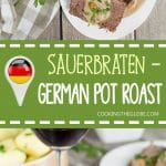 Sauerbraten is a signature German dish often served on Christmas. It's the fork-tender pot roast drowned in a fantastic sweet & sour gravy! | cookingtheglobe.com