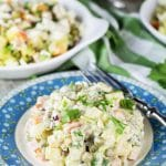 Olivier Salad, also known as Russian Potato Salad, is one of the most famous Russian foods. It is hearty, comforting, filling, and super delicious! | cookingtheglobe.com