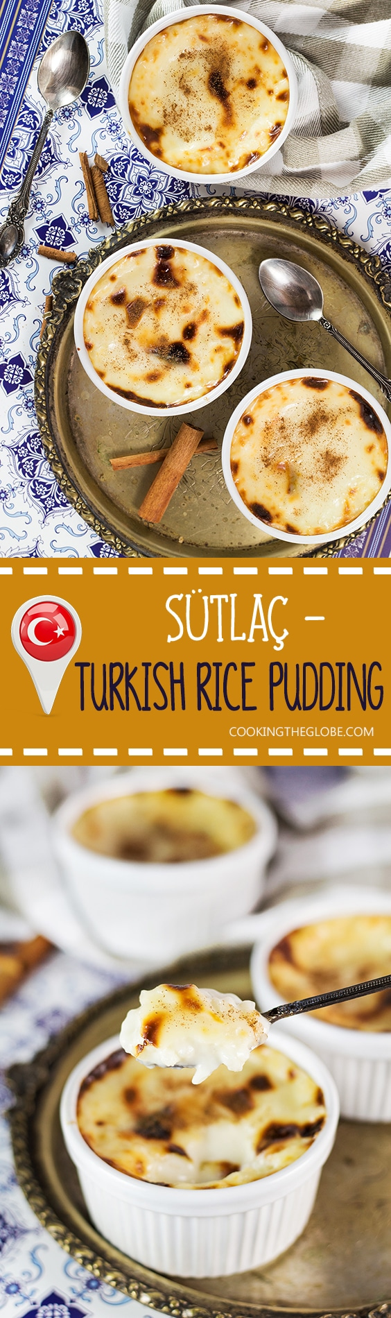 Creamy, rich, and melting in your mouth, this Turkish Rice Pudding (Sütlaç) can be served either warm or chilled. A perfect light dessert for any time of the day! | cookingtheglobe.com