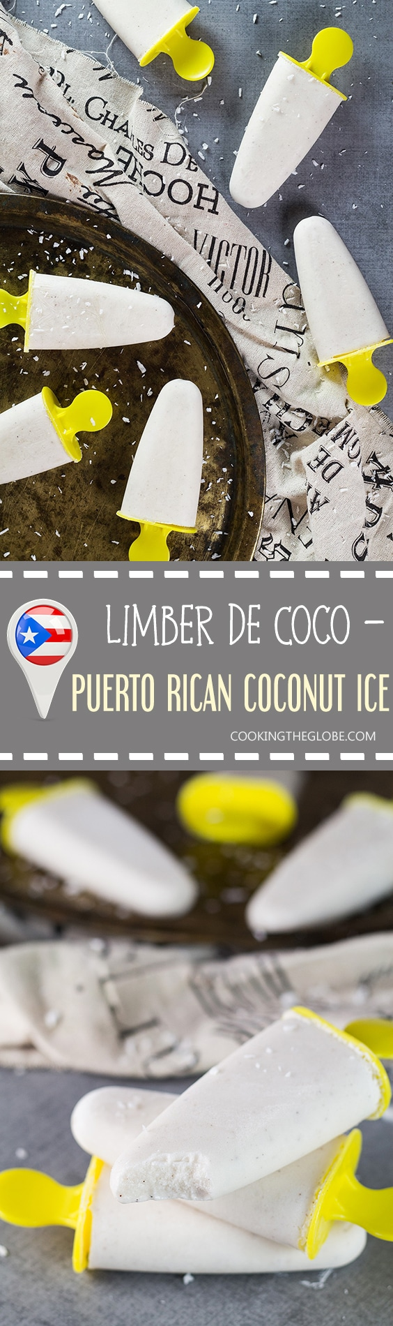 Learn how to make Limber de Coco - a flavorful Caribbean coconut ice native to Puerto Rico. A perfect refresher for a hot summer day! | cookingtheglobe.com