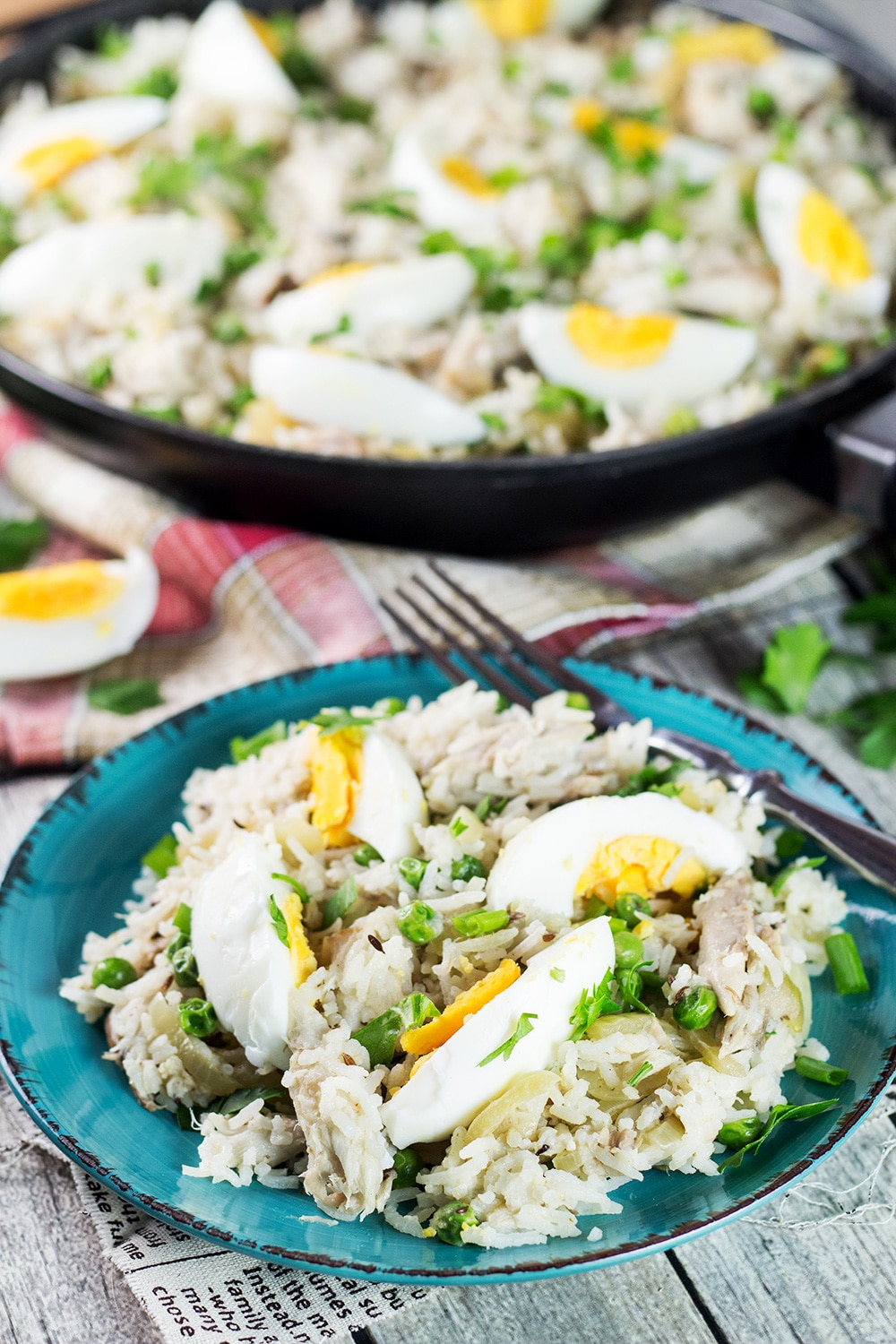 Kedgeree is a traditional British dish usually eaten for breakfast. Smoked fish, spiced rice, peas, onions, and hard-boiled eggs. A true flavor bomb!   cookingtheglobe.com