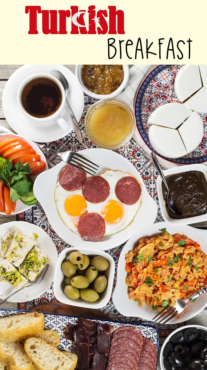 A look at the generous Turkish breakfast which features fresh bread, pastries, cold cuts, eggs, spreads, jams, cheese, veggies, and more! | cookingtheglobe.com