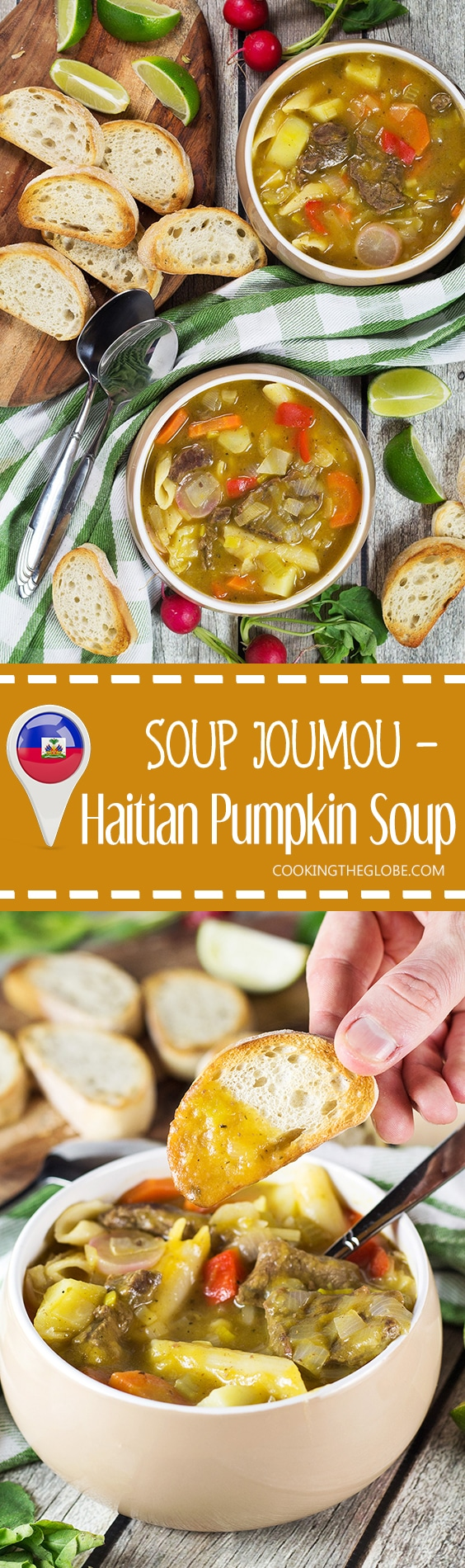 Soup Joumou is a traditional Haitian pumpkin soup packed with 11 different veggies, beef, and pasta. Hearty, comforting, and crazy delicious! | cookingtheglobe.com