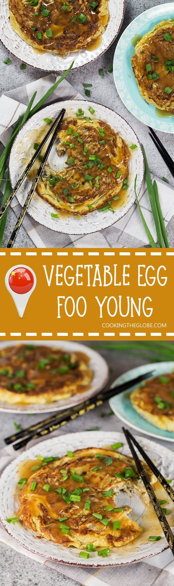 Vegetable Egg Foo Young is a perfect meatless Chinese-American breakfast option. Packed with bean sprouts, water chestnuts, and mushrooms! | cookingtheglobe.com