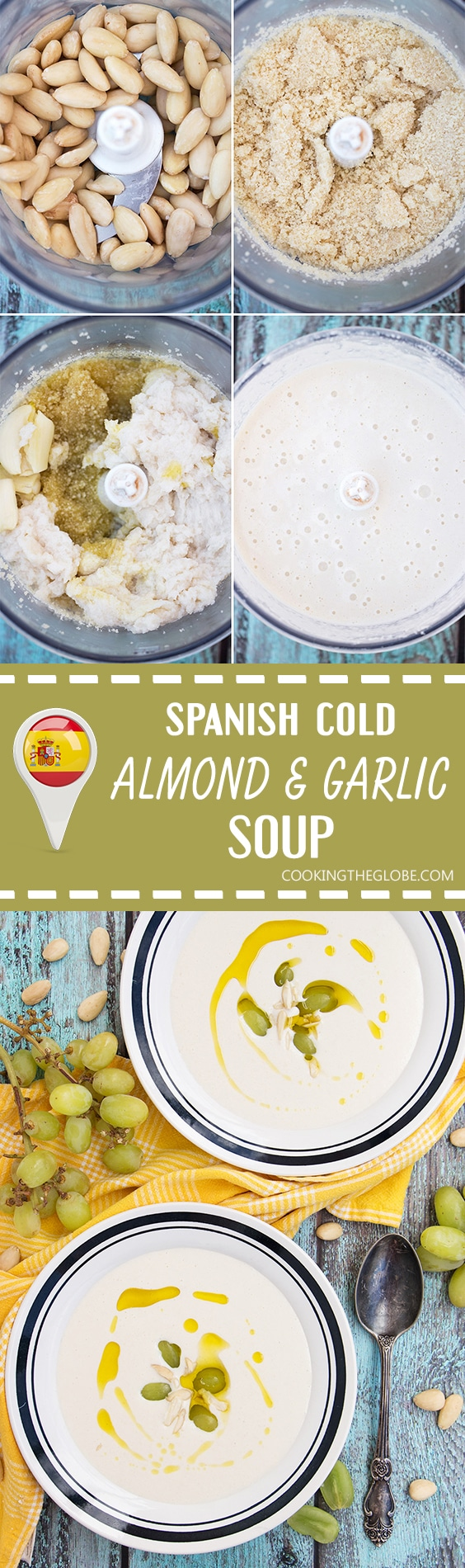 Ajo Blanco is your answer to the summer heat! Almonds, garlic, bread, olive oil, and grapes combined together to create this chilled Spanish soup! | cookingtheglobe.com