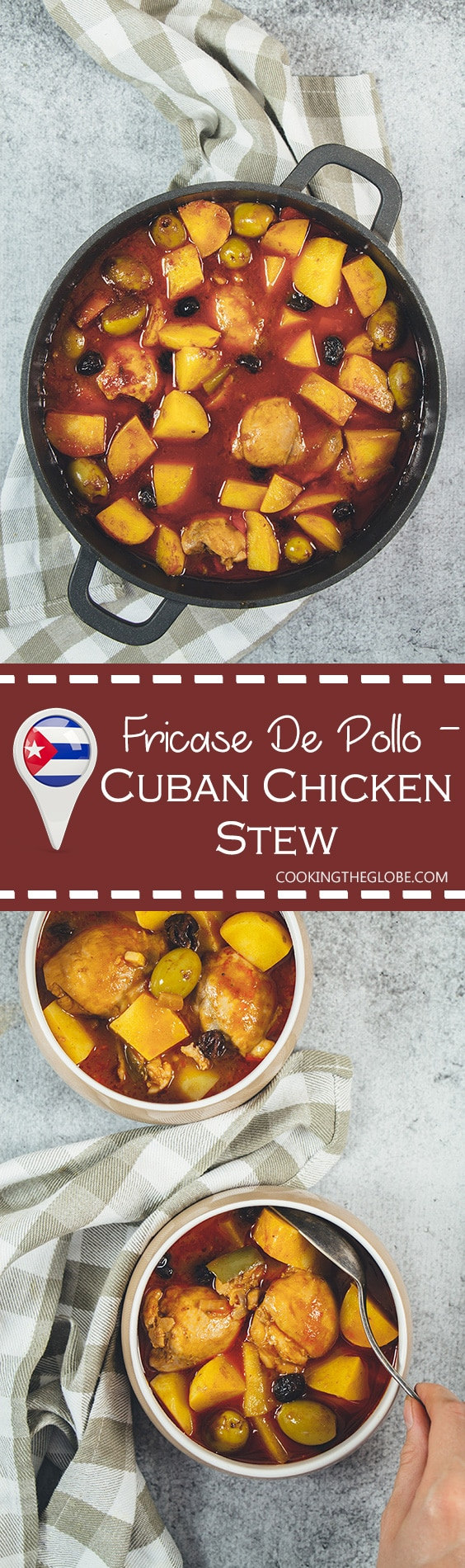Fricase De Pollo is the famous Cuban chicken stew packed with tons of different flavors. A great stew the whole family will love! | cookingtheglobe.com