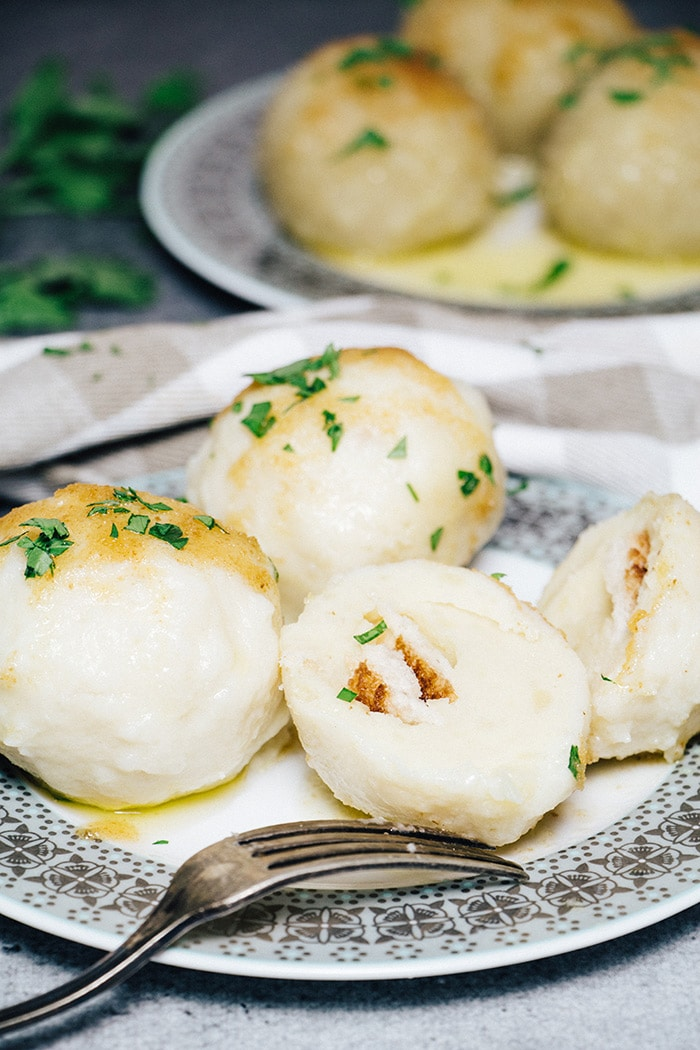 A German potato dumplings version with boiled mashed potatoes