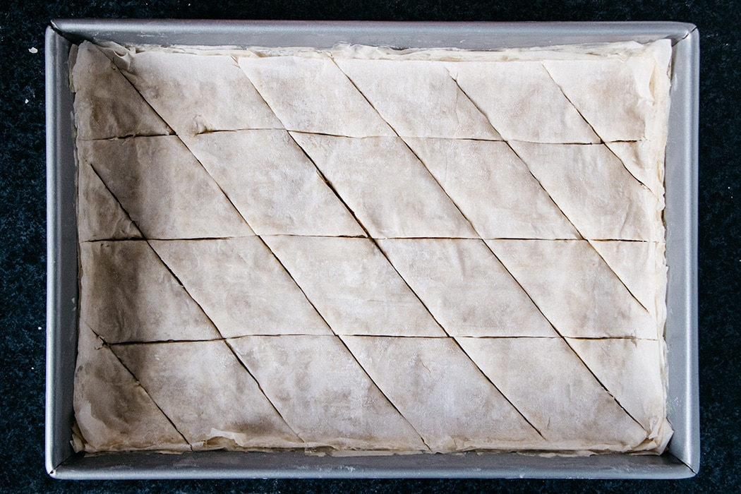 Turkish Baklava cut into diamonds before baking