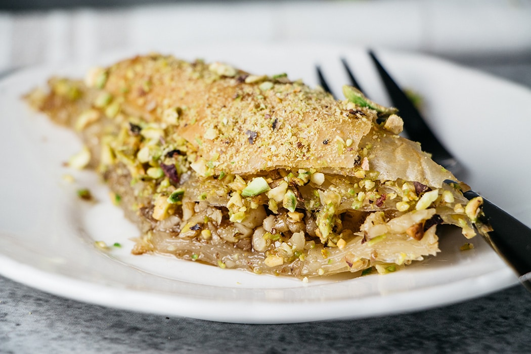 A closeup of Turkish Baklava slice