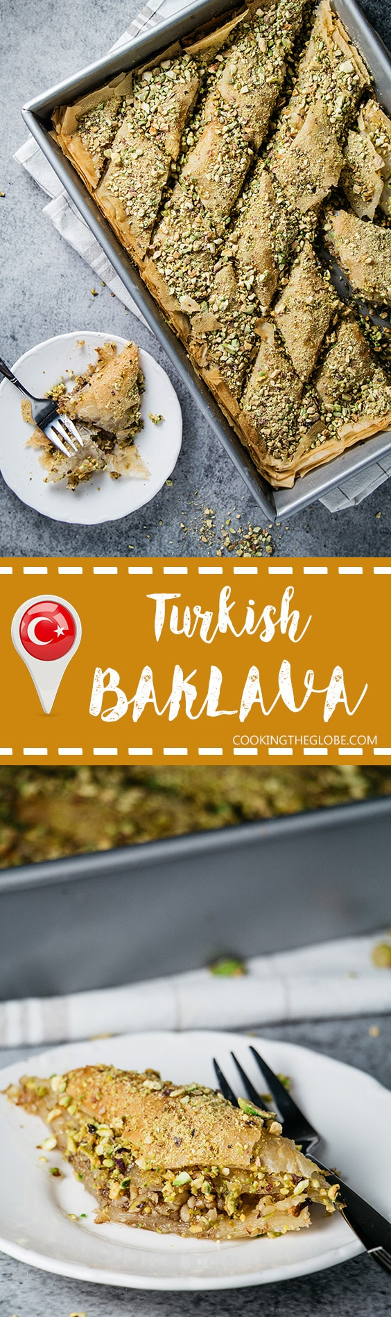 This Turkish baklava version features pistachios and walnuts inside and lemony sugar syrup all over it. So good you will lick your fingers clean! | cookingtheglobe.com