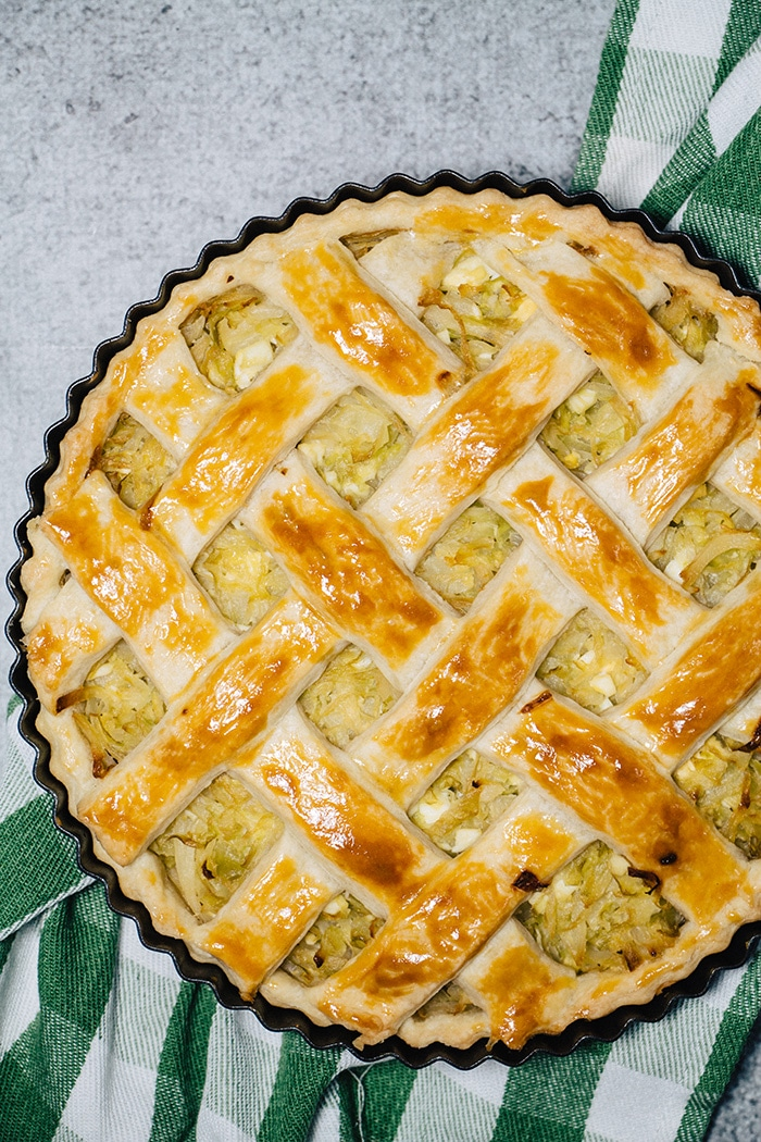 Cabbage pie straight from the oven