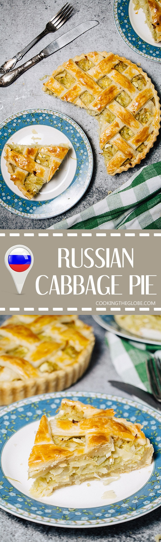 Cabbage pie is one of the most famous Russian dishes. Rich and buttery crust filled with a classic mixture of braised cabbage and boiled eggs! | cookingtheglobe.com