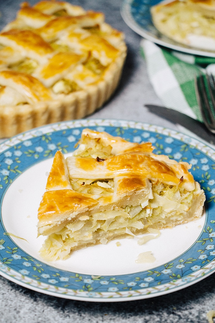 A slice of Russian cabbage pie