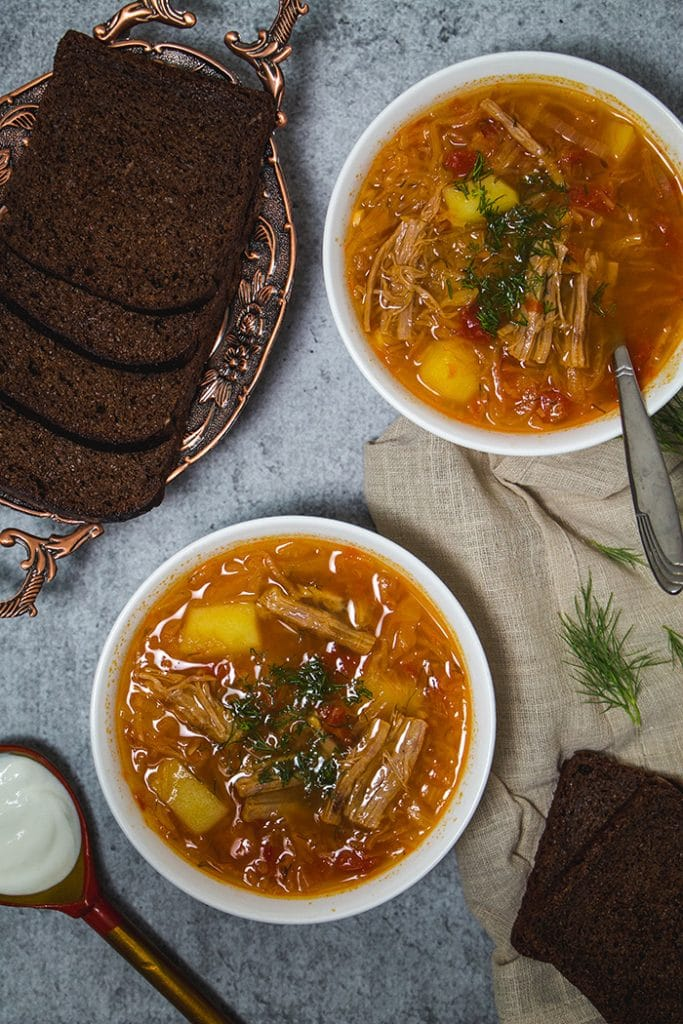 The sour version of the traditional Russian Cabbage Soup made with sauerkraut