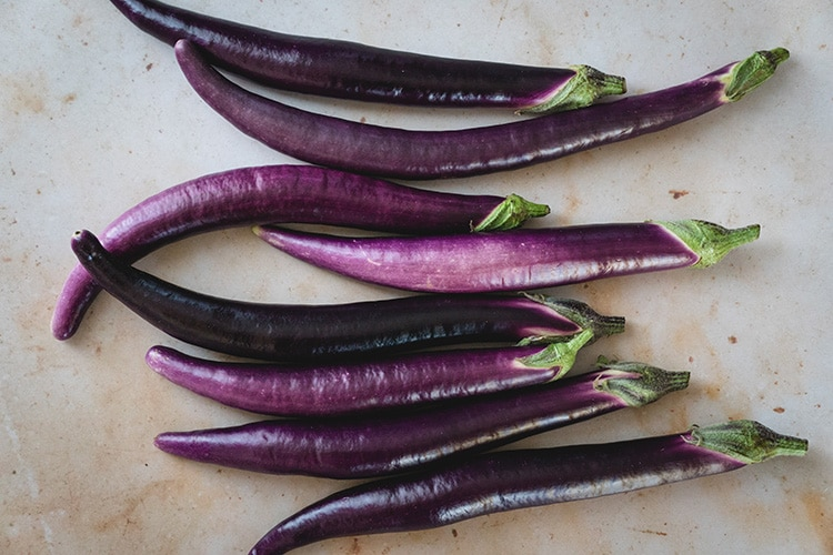 Japanese eggplants on the table