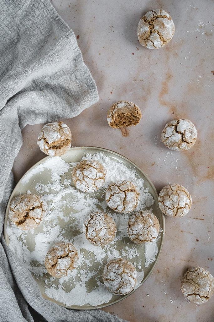 Moroccan walnut cookies overhead shot