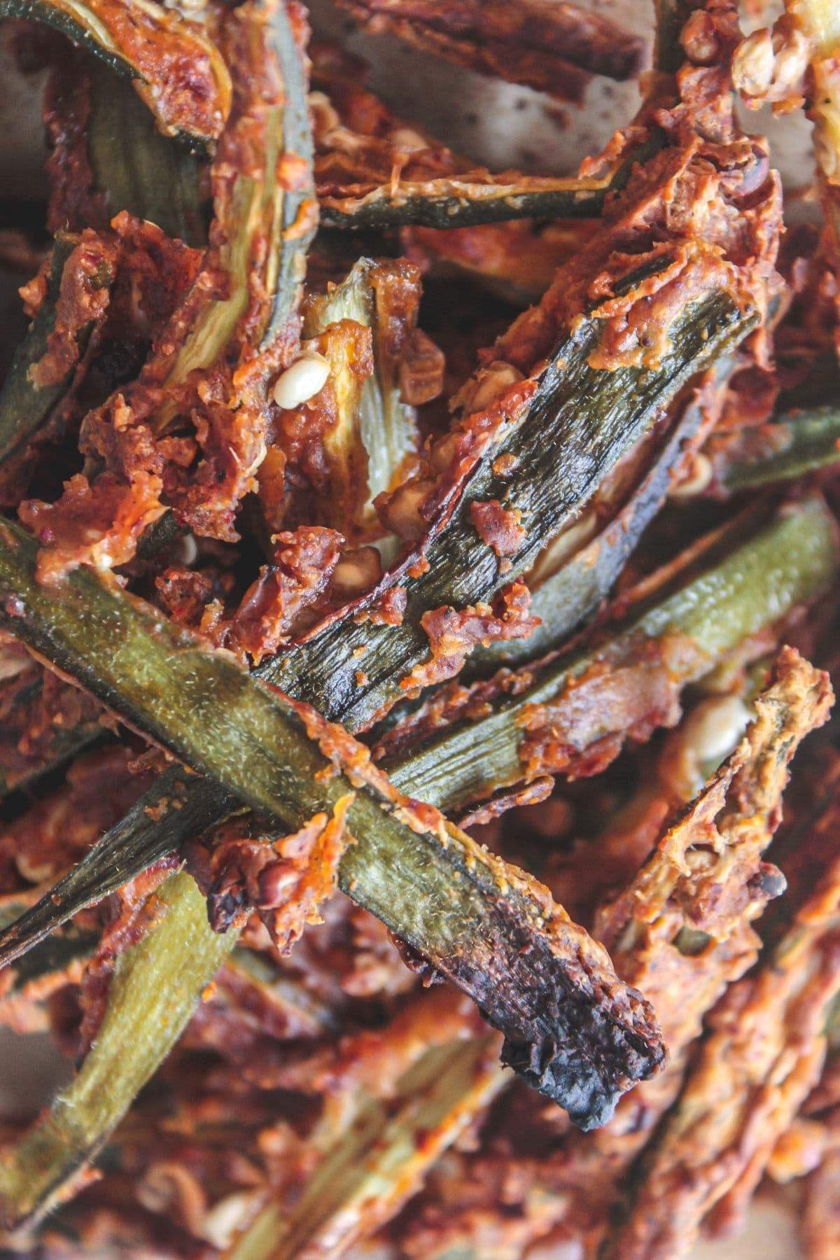 Close up image of baked kukuri bhindi okra