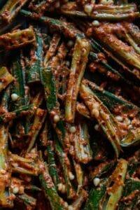 Okra seasoned and baked crispy
