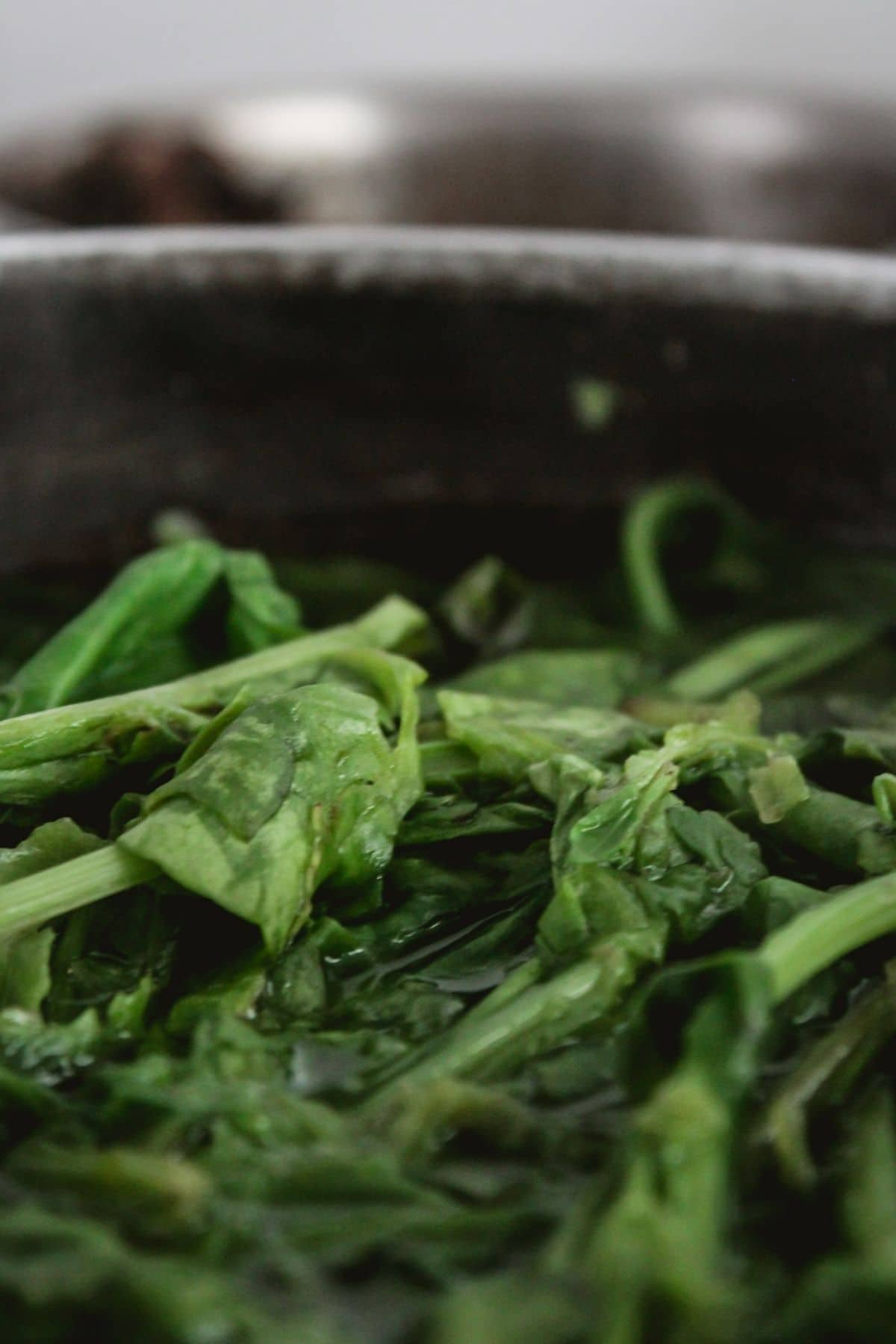 Spinach in stockpan