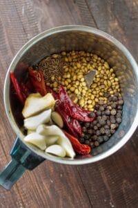 Vindaloo paste ingredients in chutney grinder