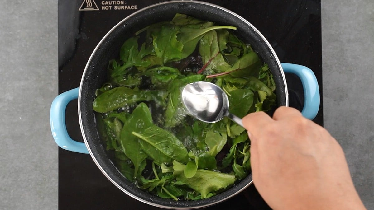 Greens in large stockpot
