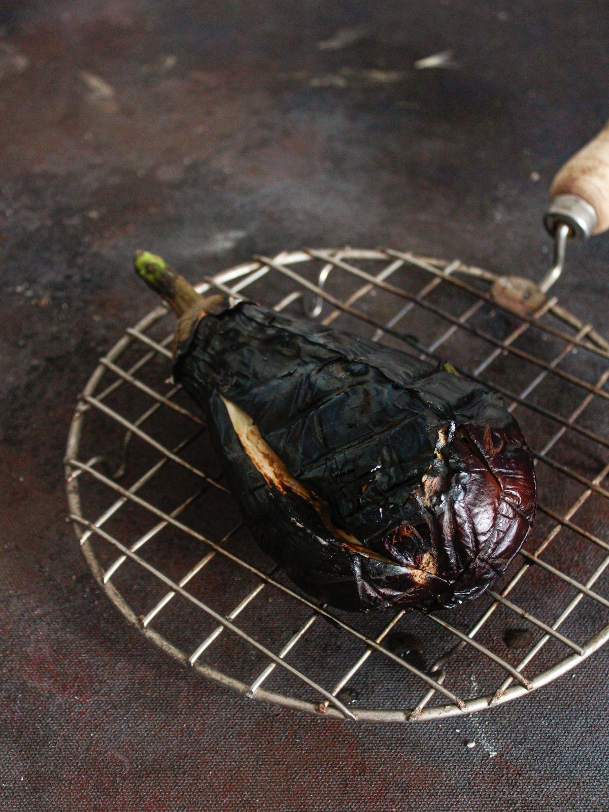 Roasted eggplant on wire rack