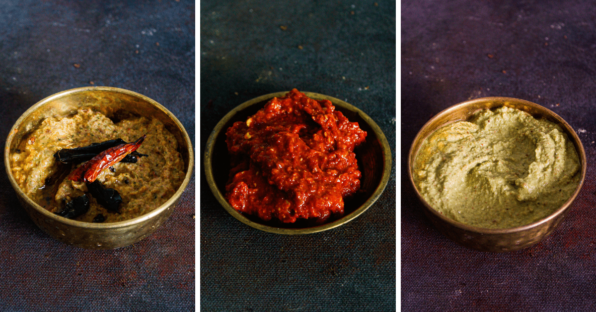 3 variants of chutney in gold bowls